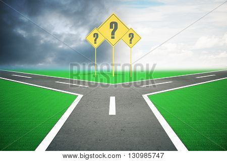 Different direction concept with question mark signs and road splitting into two under dull and bright skies. 3D Rendering