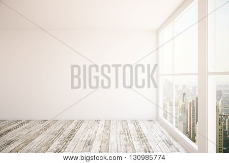 Interior design with blank wall wooden floor and windows with New York city view. Mock up 3D Rendering