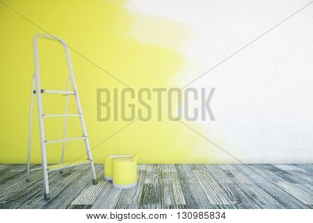 Room interior with unfinished yellow wall paint buckets ladder and wooden floor. Mock up 3D Rendering