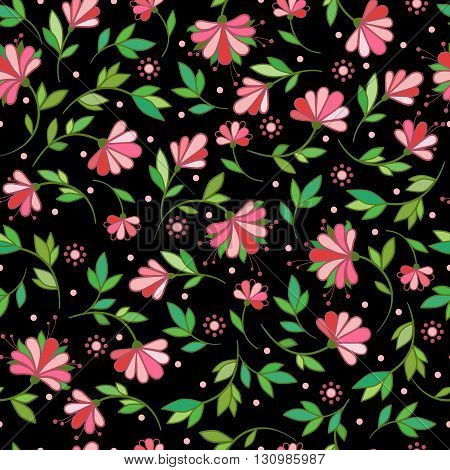 Floral seamless pattern. Flower Garden.vector floral illustration in vintage style.