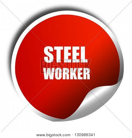 Steel background with smooth lines, 3D rendering, red sticker wi
