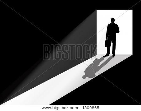 Business Man Silhouette Standing In The Doorway