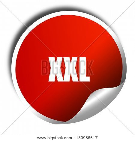 xxl sign background, 3D rendering, red sticker with white text