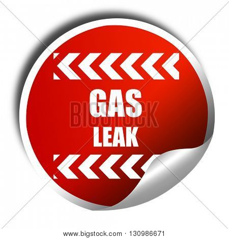 Gas leak background, 3D rendering, red sticker with white text