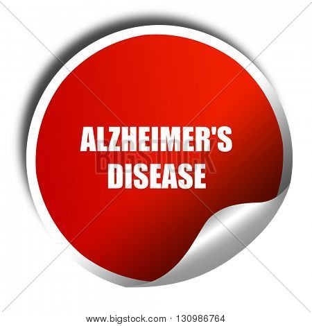 Alzheimer's disease background, 3D rendering, red sticker with w