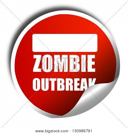 zombie virus concept background, 3D rendering, red sticker with