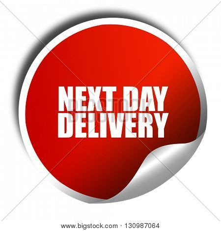 next day delivery, 3D rendering, red sticker with white text