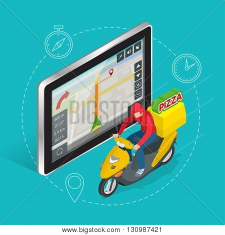 Geolocation gps navigation touch screen tablet and Fast delivery service. Pizza delivery concept. Flat 3d vector isometric illustration.