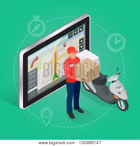 Geolocation gps navigation touch screen tablet and Fast delivery service.  Fast shipping,  express delivery,  free delivery,  fast delivery icon. Flat 3d vector isometric illustration.
