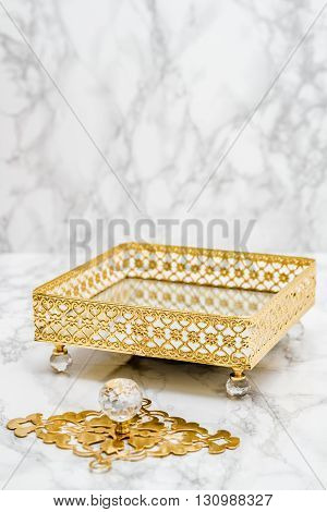 Decorative Tray With Golden Pattern