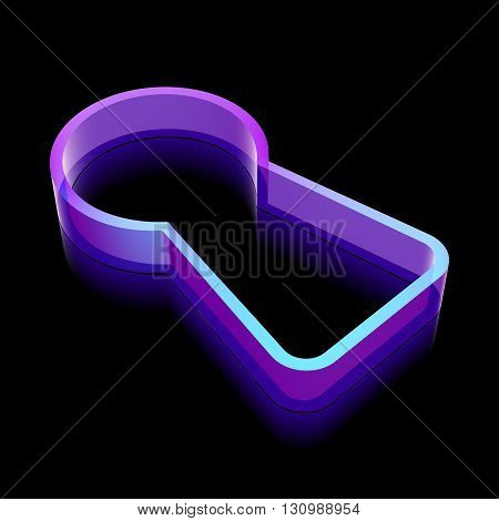 Safety icon: 3d neon glowing Keyhole made of glass with reflection on Black background, EPS 10 vector illustration.
