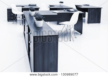 tables and chairs with reflection on white background