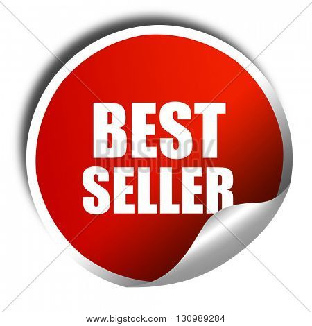 best seller, 3D rendering, red sticker with white text