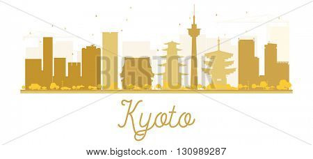 Kyoto City skyline golden silhouette. Vector illustration. Cityscape with landmarks