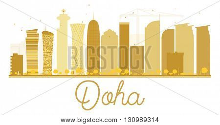 Doha City skyline golden silhouette. Vector illustration. Cityscape with landmarks