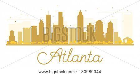 Atlanta City skyline golden silhouette. Vector illustration. Cityscape with landmarks