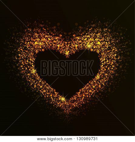 Background with heart made up of musical notes, Golden Heart