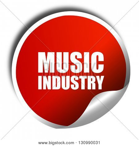 music industry, 3D rendering, red sticker with white text