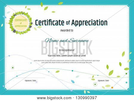 Certificate of appreciation template in nature theme with green leaf emblem vector