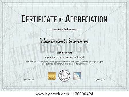 Certificate of appreciation template with grey wooden background in vector