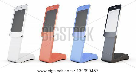 Set of outdoor advertising stand isolated on white background. Colorful advertising stand. In the form of a phone. 3d rendering