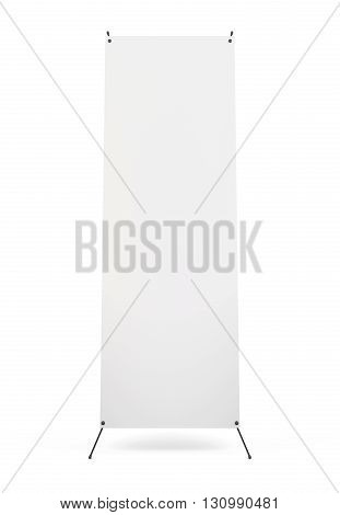 Blank banner X-Stand isolated on white background. Front view. 3d rendering.