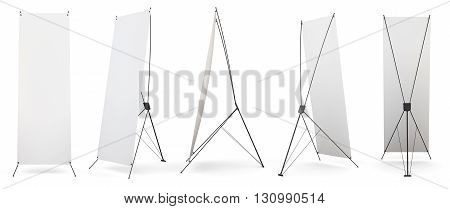 Set of banner x-stands display isolated on white background. 3d render image.