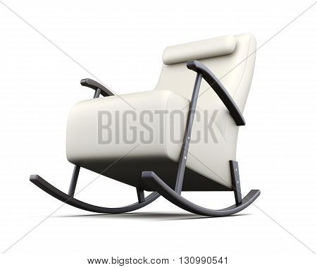 Rocking chair isolated on white background. 3d rendering.