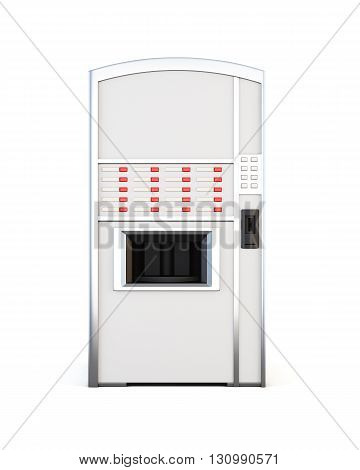 Vending machine selling drinks and snacks on a white background. Front view. 3d rendering