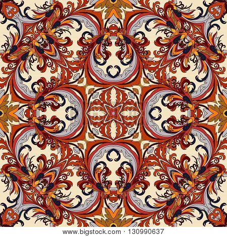 Wallpaper in the style of Baroque. A seamless vector background. Damask floral pattern. Orange brown gray colors.