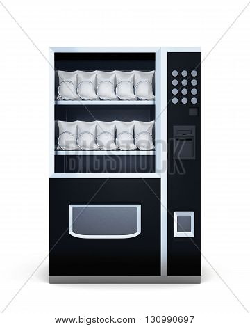 Black machine for sale of snacks isolated on white background. Front view. 3d illustration.