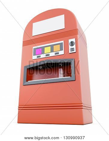 Vending machine for soft drinks isolated on white background. Machine for sale soda. 3d render image