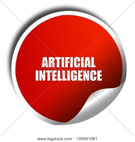 artificial intelligence, 3D rendering, red sticker with white te