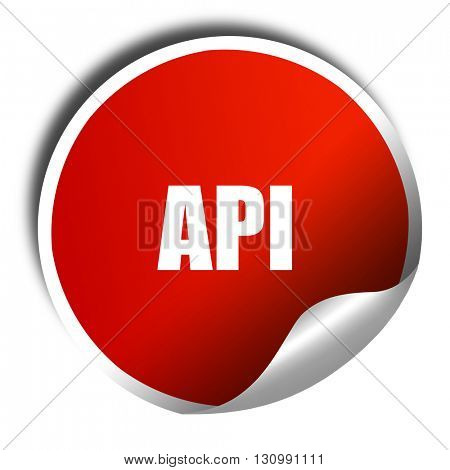 api, 3D rendering, red sticker with white text