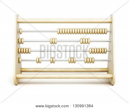 Old wooden abacus front view isolated on a white background. 3d rendering.