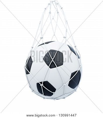 Soccer ball in the mesh bag isolated on white background. 3d rendering.