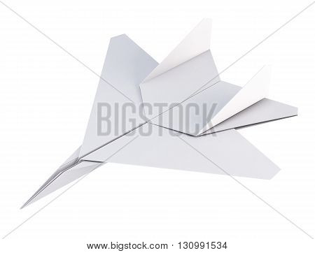 White paper plane on a white background. Origami plane. 3d rendering