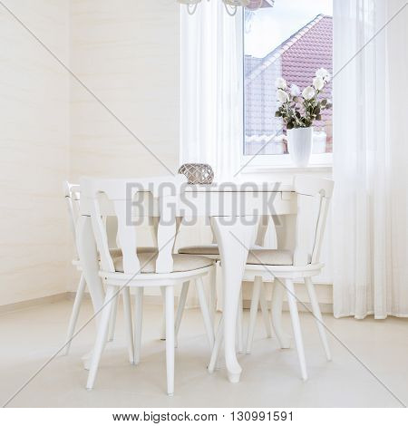 Horizontal view of cozy interior in vintage style