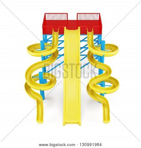 Plastic water slides isolated on a white background. Front view. 3d rendering.