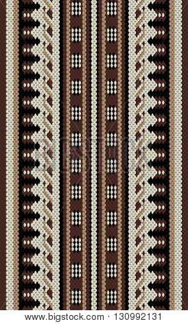 Brown And Beige Arabian Sadu Rug Pattern