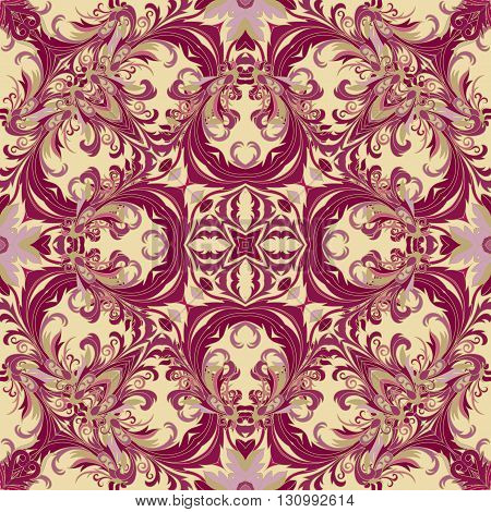 Baroque style floral wallpaper. Seamless vector pattern. Square tile. Vinous and gold tone.