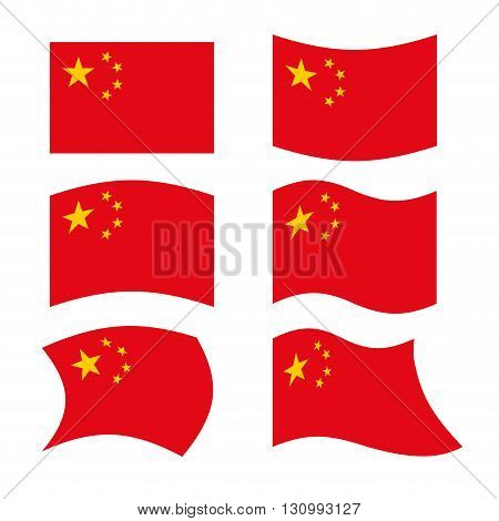 China Flag. Set National Flag Of Chinese State. Red Flag And Golden Stars