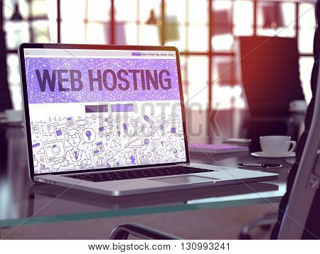 Web Hosting Concept Closeup on Landing Page of Laptop Screen in Modern Office Workplace. Toned Image with Selective Focus. 3D Render.