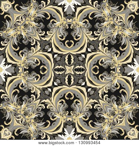 Baroque style floral wallpaper. Seamless vector pattern. Square tile. Black white gold tone.