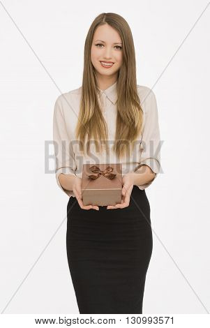 Young woman portrait presenting gift to someone