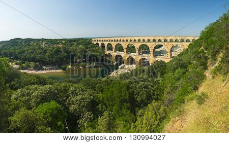 Pont du Gard is an old Roman aqueduct, southern France near Avignon. Panorama