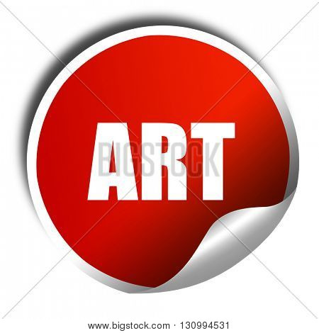 art, 3D rendering, red sticker with white text
