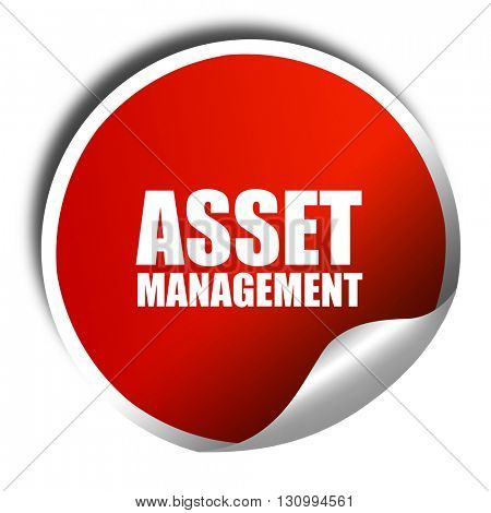 asset management, 3D rendering, red sticker with white text