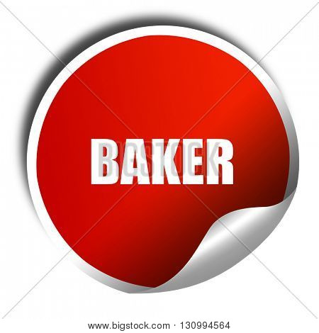 baker, 3D rendering, red sticker with white text