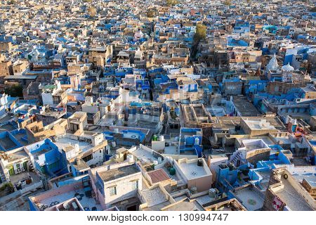 Jodhpur, the Blue City seen from Mehrangarh Fort, Rajasthan, India, Asia